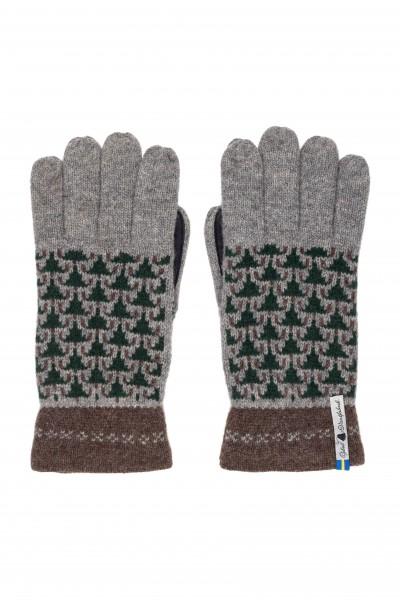 Wollhandschuh Fingerhandschuh SKOGEN grau - braun / HANDY-FÄHIG