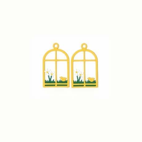 Fensterbilder/ Anhänger FENSTER MIT KÜKEN, gelb