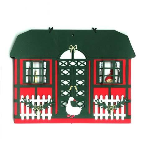 Fensterbild Weihnachtshaus mit Gans und Weihnachtskind