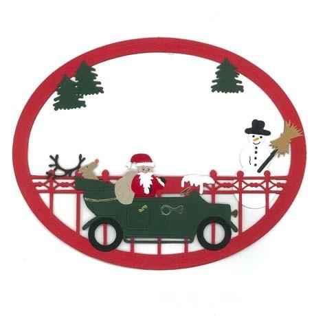 Fensterbild Weihnachtsmann mit Rentier im Auto