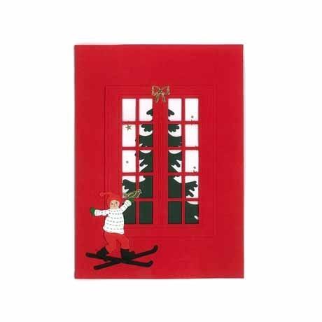 Briefkarte Kleiner Skiläufer rot