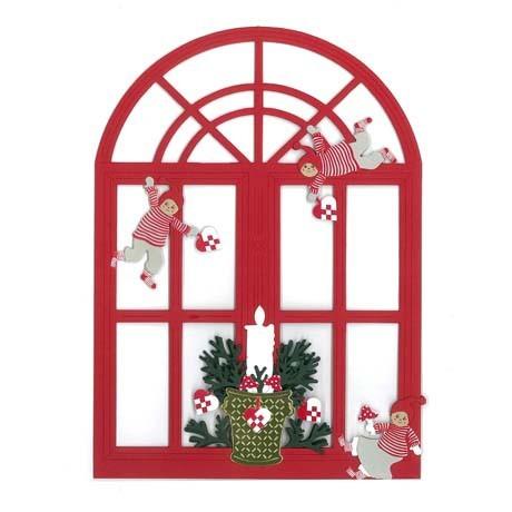 Fensterbild Fenster mit spielenden Weihnachtskindern